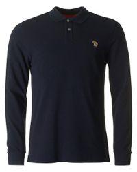Paul Smith | Blue Regular Fit Long Sleeved Zebra Polo for Men | Lyst