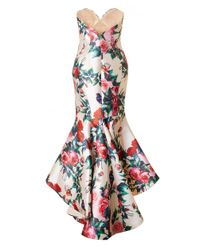 Forever Unique Multicolor Strapless Floral Satin Hi Lo Dress