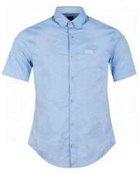 BOSS by Hugo Boss Blue Biadia Short Sleeved Oxford Shirt for men