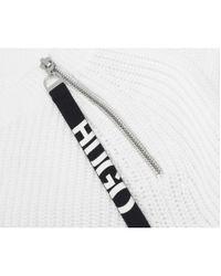HUGO White Shailey Logo Zip Detail Jumper