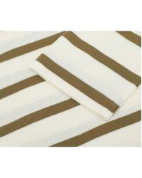 Polo Ralph Lauren - Natural Striped Logo Three Quarter Sleeve Top - Lyst