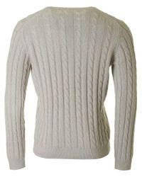 Farah Gray Norfolk Crew Neck Cable Knit for men