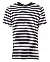 Champion Black Crew Neck Striped T-shirt for men