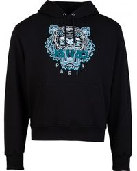 KENZO Black Icons Tiger Pop Over Hoody for men