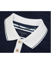 Ted Baker Blue Staffy Contrast Collar Polo for men
