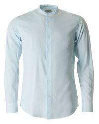 Dries Van Noten Blue Claver Fitted Grandad Collar Shirt for men
