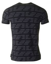 Armani Black All Over Eagle Logo Crew Neck for men