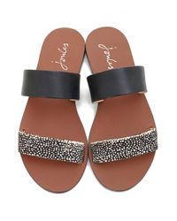 Joules Black Two Strap Leather Sandals