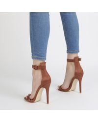 Public Desire Blue Crystal Self Buckled Barely There Heels In Rust Satin
