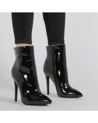 Public Desire - Harlee High Shine Pointed Toe Ankle Boots In Black Patent - Lyst