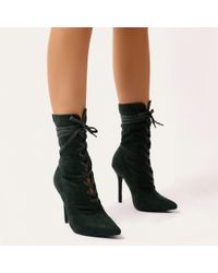 Public Desire - Sass Lace Up Ankle Boots In Deep Green Faux Suede - Lyst