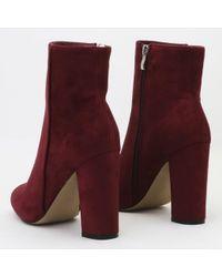 Public Desire - Blue Presley Ankle Boots In Bordeaux Faux Suede - Lyst