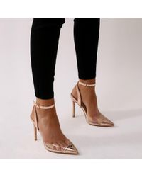 Public Desire - Pink Heartthrob Heart Court Heels In Rose Gold - Lyst