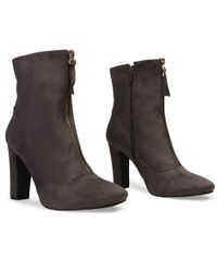 Public Desire - Kay Ankle Boots In Gray Faux Suede - Lyst