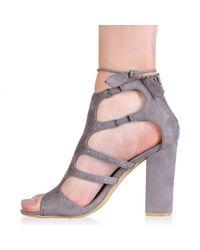 Public Desire - Gray Paulette High Heels In Grey Faux Suede - Lyst