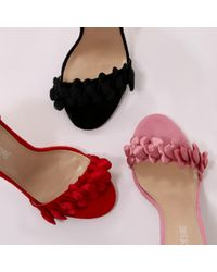 Public Desire - Endless Hearts High Heels In Red Faux Suede - Lyst