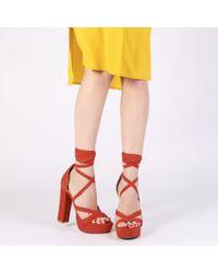 59146deb94c69 Public Desire Stella Lace Up Heels In Red Faux Suede in Black - Lyst