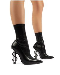 Public Desire Money Maker Black Pu Statement Heel Sock Fit Ankle Boots