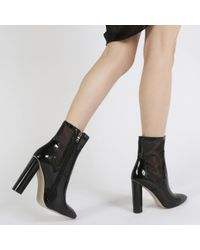 Public Desire | Hadley Pointed Toe Mesh Detail Ankle Boots In Black Patent | Lyst