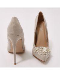 Public Desire Multicolor Mayfair Pearl Pointed Toe Stiletto Heels In Grey Faux Suede