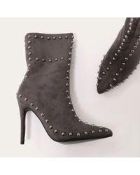 Public Desire - Gray Artemis Studded Stiletto Ankle Boots In Dark Grey Faux Suede - Lyst