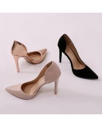 Public Desire Pink Tipsy Cut Out Court Heels In Rose Gold