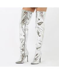 a787141b487 Public Desire. Women s Poison Over The Knee Foil Boots In Silver Metallic