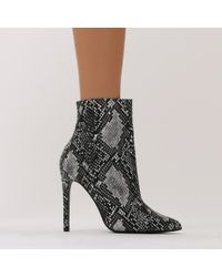 Public Desire - Multicolor Harlee High Shine Pointed Toe Ankle Boots In Snake - Lyst