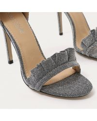 Public Desire Gray Lucid Frill Strap Barely There Heels In Grey Shimmer