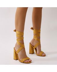 2fb8a1c480c Public Desire. Women s Brown Honesty Lace Up Flared Block Heels In Mustard  Faux Suede