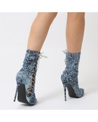 Public Desire - Blue Regal Lace Up Side Embossed Ankle Boots In Distressed Denim - Lyst