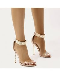 Public Desire - Multicolor Leo Twisted Stiletto Chain Strap Heels In Rose Gold - Lyst