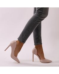 Public Desire Natural Tipsy Cut Out Court Heels In Nude