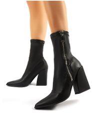 Public Desire Jamie Black Pu Sock Fit Block Heeled Ankle Boots