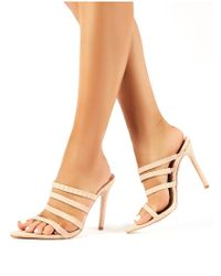 Public Desire Natural Confess Nude Snakeskin Strappy Stiletto Heeled Mules