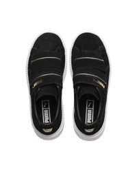 PUMA Black Platform Trace Strap Women's Sneakers