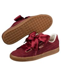 PUMA Red Basket Heart Corduroy Casual Trainers