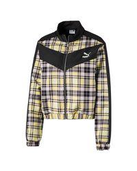 PUMA Check Full Zip Jacket in het Yellow