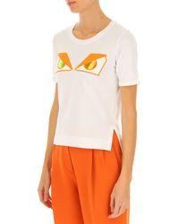 Camiseta de Mujer Baratos en Rebajas Outlet Fendi de color White