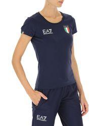 Camiseta de Mujer Baratos en Rebajas Outlet Emporio Armani de color Blue