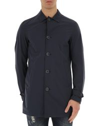 Herno - Blue Men\'s Coat On Sale for Men - Lyst
