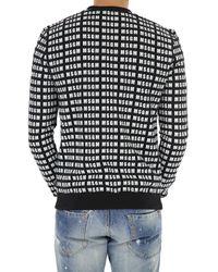 MSGM Black Allover Logo Cotton Sweater for men