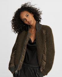 Rag & Bone Multicolor Oakes Wool Blend Sweater Bomber Relaxed Fit Midweight Cardigan