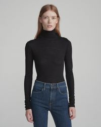 Rag & Bone Black Leyton Turtleneck Button-shoulder Sweater