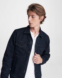Rag & Bone Blue Definitive Cotton Cashmere Jean Jacket Classic Fit Indigo Jean Jacket for men