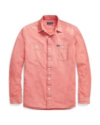 Polo Ralph Lauren Classic-Fit Chambray-Arbeitshemd in Pink für Herren