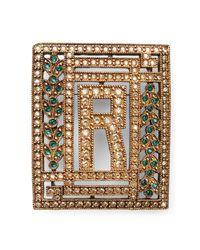 Ralph Lauren Metallic R Crystal Brooch