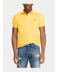 Polo Ralph Lauren Custom-Slim-Fit Polo aus Piqué in Yellow für Herren