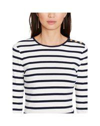 Ralph Lauren | White Striped Button-shoulder Top | Lyst