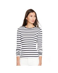 Ralph Lauren | White Striped Button-shoulder Top | Lyst